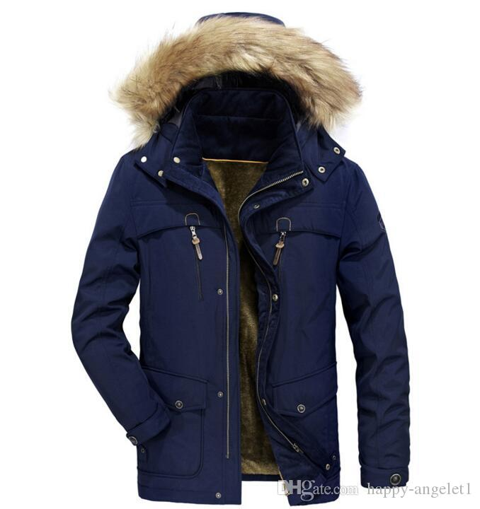 2018 autumn/winter new men's fur thickening warm coat loose size of long style trench coat cotton-padded jacket