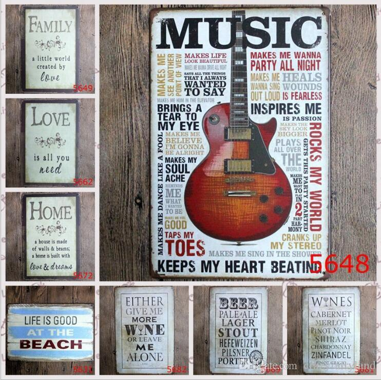 Vintage Metal Tin Signs For Wall Decor Guitar Music Iron Paintings 20*30cm Metal Signs Tin Plate Pub Bar Bathroom Garage Home Decoration