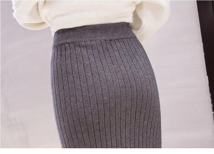 Winter Knitted Skirts Women High Waist Mermaid Skirt Saia Knitting Pack Hip Skirt Women\`s 2019 Casual Bodycon Faldas Mujer (17)