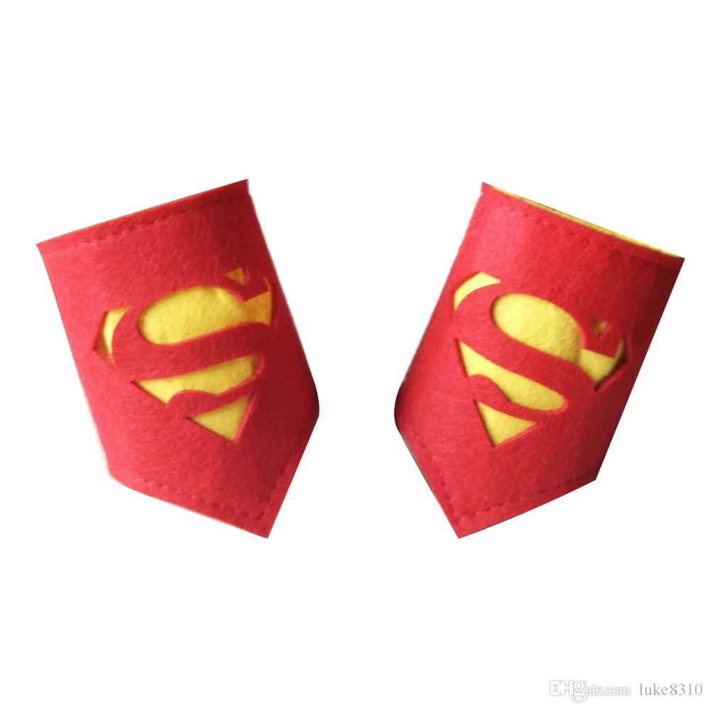 26 styles Kids Superhero Wristband Child Party Favor Kids Cosplay Wrist Band Halloween Birthday Favor Felt Wristbands for Kids or Adult