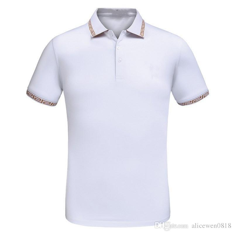 ace09a58 Fashion Style Men Polo Shirt Contrast Color Collar Short Sleeve Slim Fit  Solid Color Male Polo ...