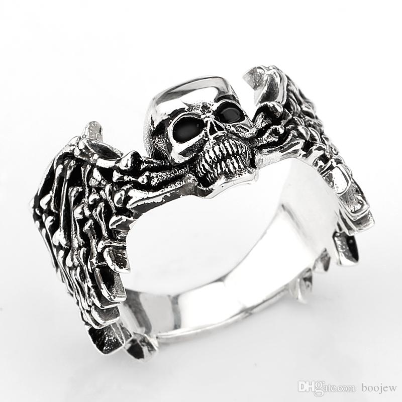 2018 Trendy 925 Sterling Silver Cool Black Angle with Wings Skull Skeleton Men Rings Jewelry for Lovers