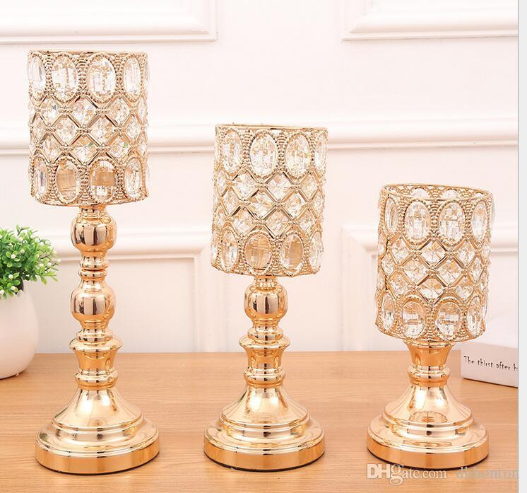 peculiar metal golden finish candle holder with crystals wedding candelabra holder centerpiece home decoration candlesticks WT077
