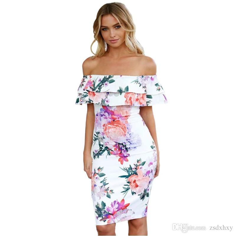 White Dresses For Women 2018 Fashionnova Ladies Party Dress Casual  Summerdress Slash Neck Ruffles Plus Size Clothing For Women Dresses Of  Women Summer
