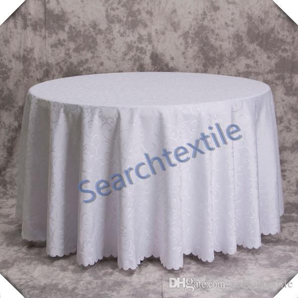Good Looking Jacquad Round Table Cloth \ White Color Polyester Tablecloth Free shipping