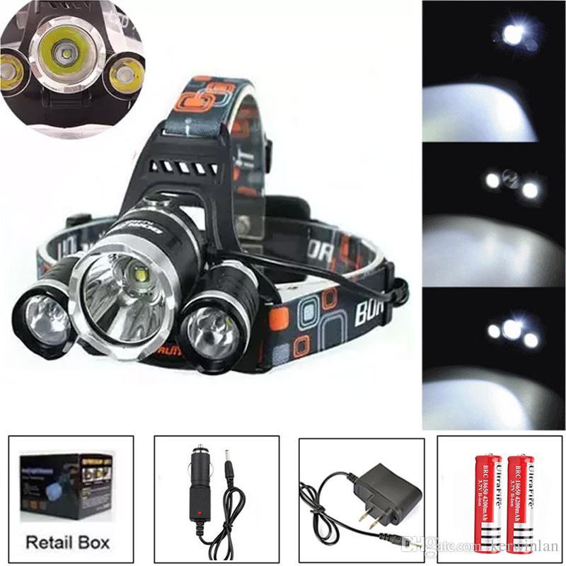 8000Lm CREE XML 3T6 LED Scheinwerfer Scheinwerfer Stirnlampe Licht 4-Modus Taschenlampe + 2x18650 Batterie + EU / US / AU / UK Auto Ladegerät für Angeln Lichter
