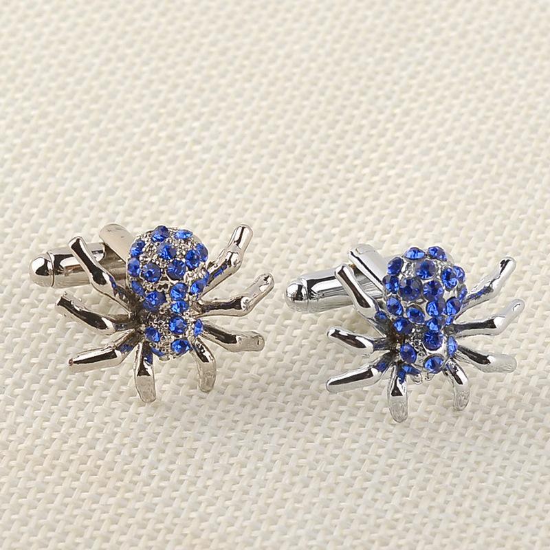 Trendy Yuvarlak Çember kol düğmesi Bay Gömlek Takı Toptan 10Pairs İçin Yeni Lüks Mavi Elmas taklidi Örümcek Twins Kol Düğmeleri Düğmeleri Hediyeler