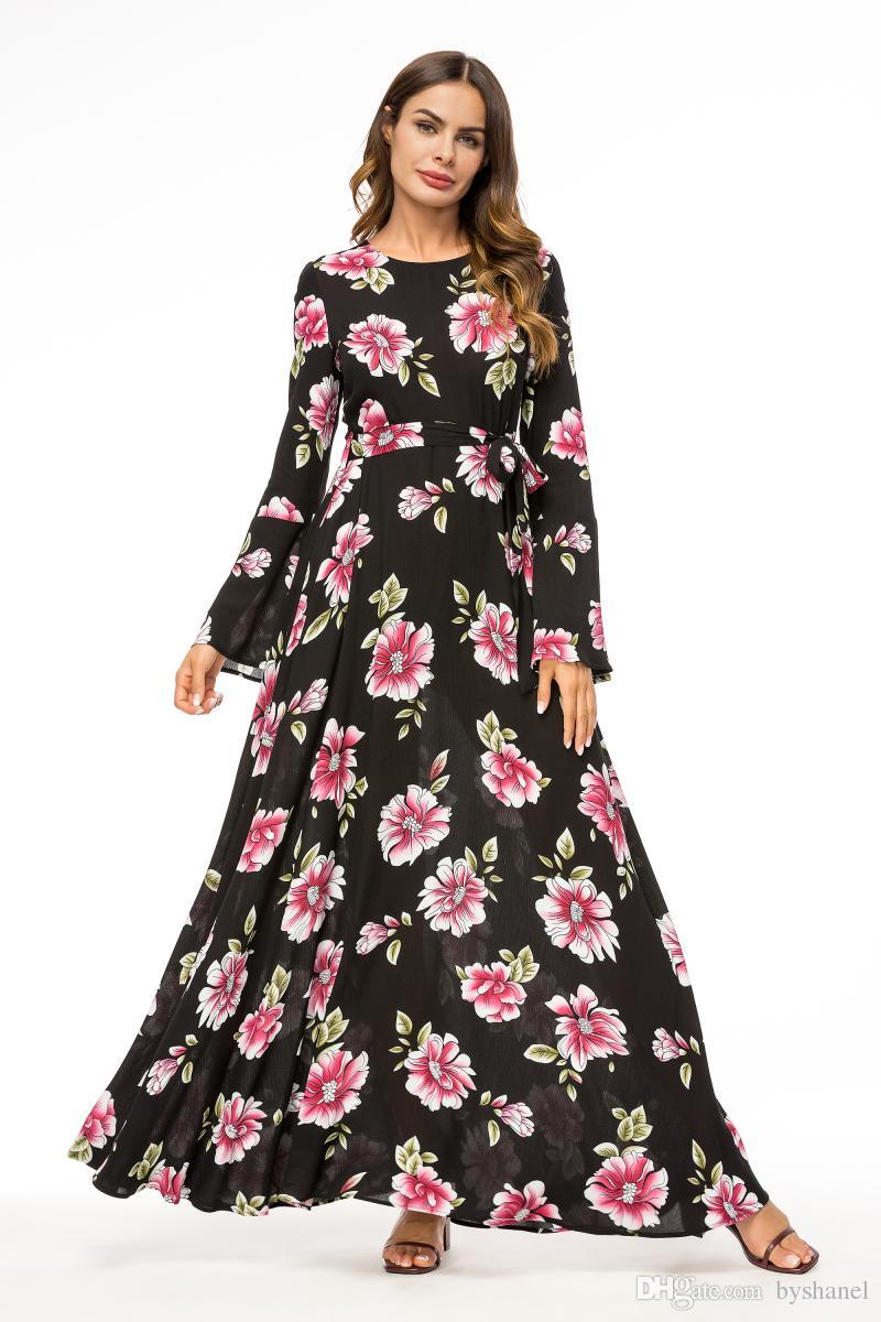 Бесплатная доставка Исламский мусульманин Абая женщины цветочные Макси Partywear платья шифон цветок Макси Dresse для исламских женщин Дубай Абая