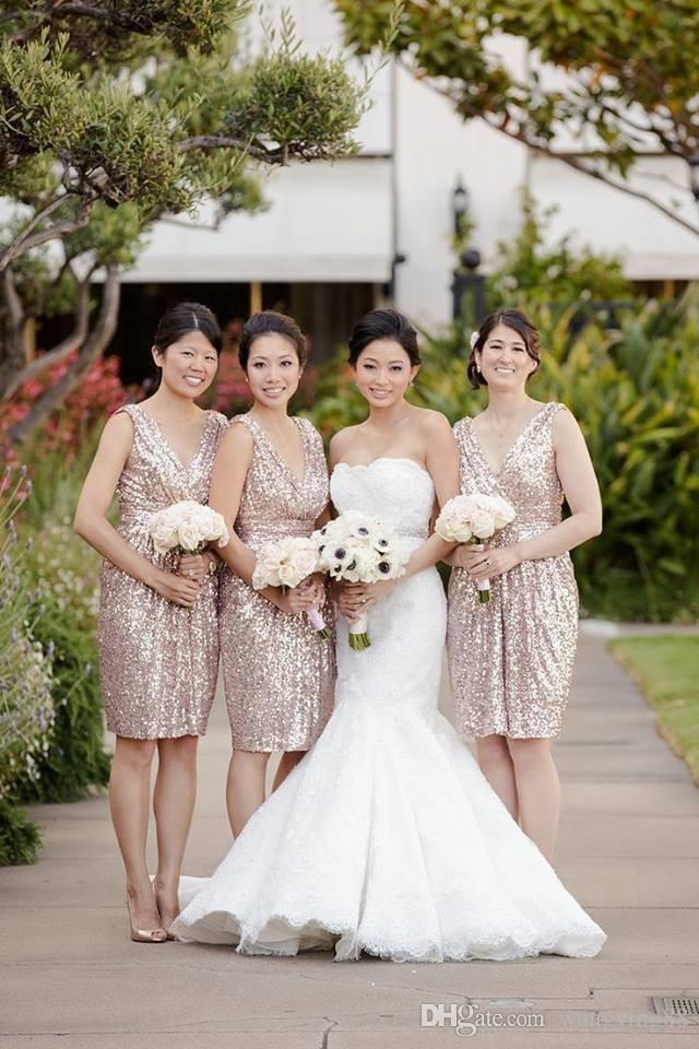 2018 Gold Sequin Bridesmaid Dresses Deep V-Neck Short Wedding Party Dress Cheap Real Photo Bridesmaids Dress