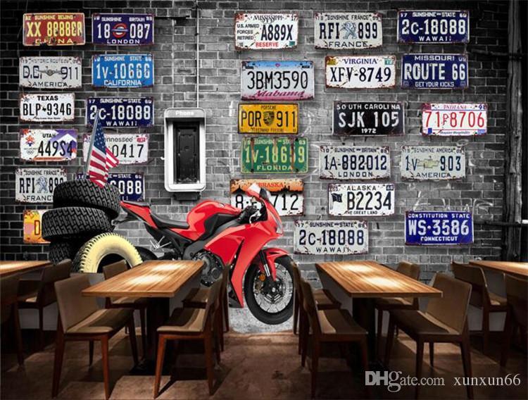Europe Amérique du pneu rétro nostalgique moto plaques brique grande peinture murale papier peint 3D pour les murs chambre 3d salon stéréo TV