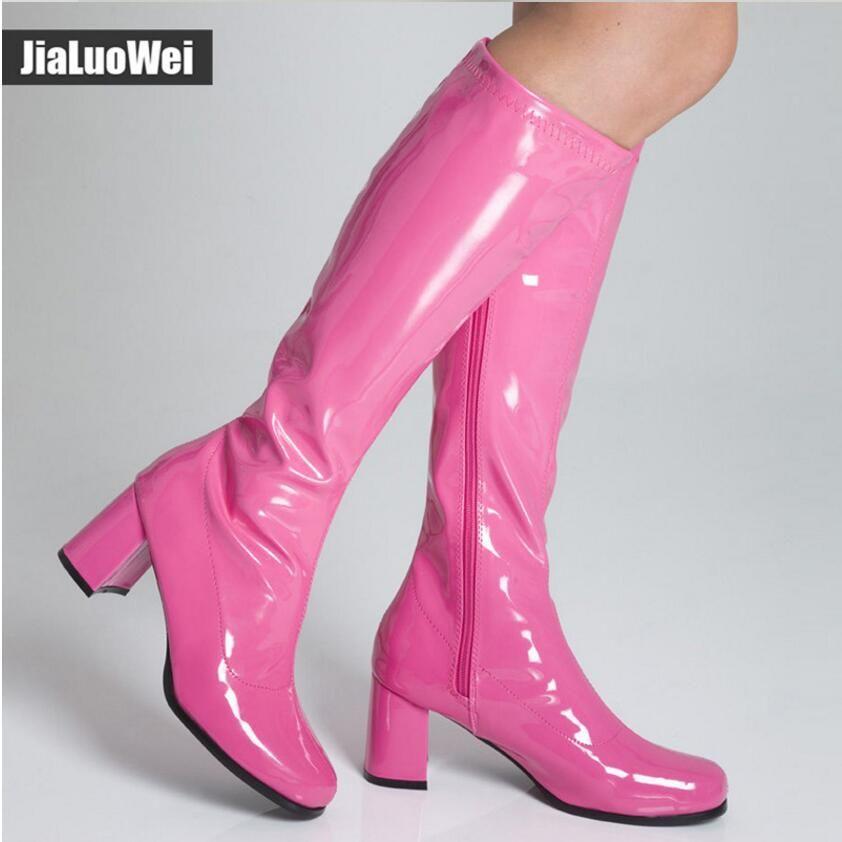 Retro Neue 2018 Damen Pink Großhandel Jahre Halloween Schuhe Stiefel Mann Kleid Go Kniehohe Kostüme 1960er Für Frauen Party Ritter Fancy Yb6yIf7vmg