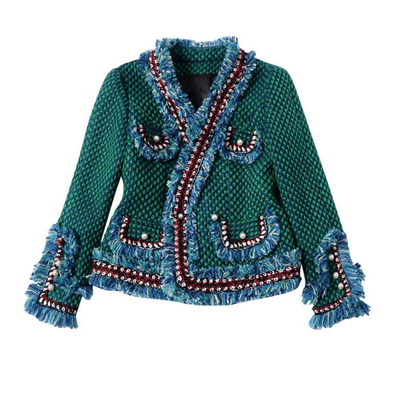 Abrigo de chaqueta de tweed 2017 primavera / otoño abrigo de cachemira de lana de las mujeres de manga larga delgada borla botón de la perla elegante chaqueta de la pista