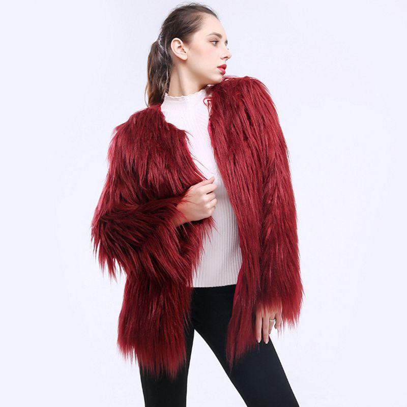 Ailegogo Winter Women Warm Faux Fur Coat Fake Fur Female Black Green Pink Jacket Fluffy Coats Lady Plus Size 3xl Outerwear