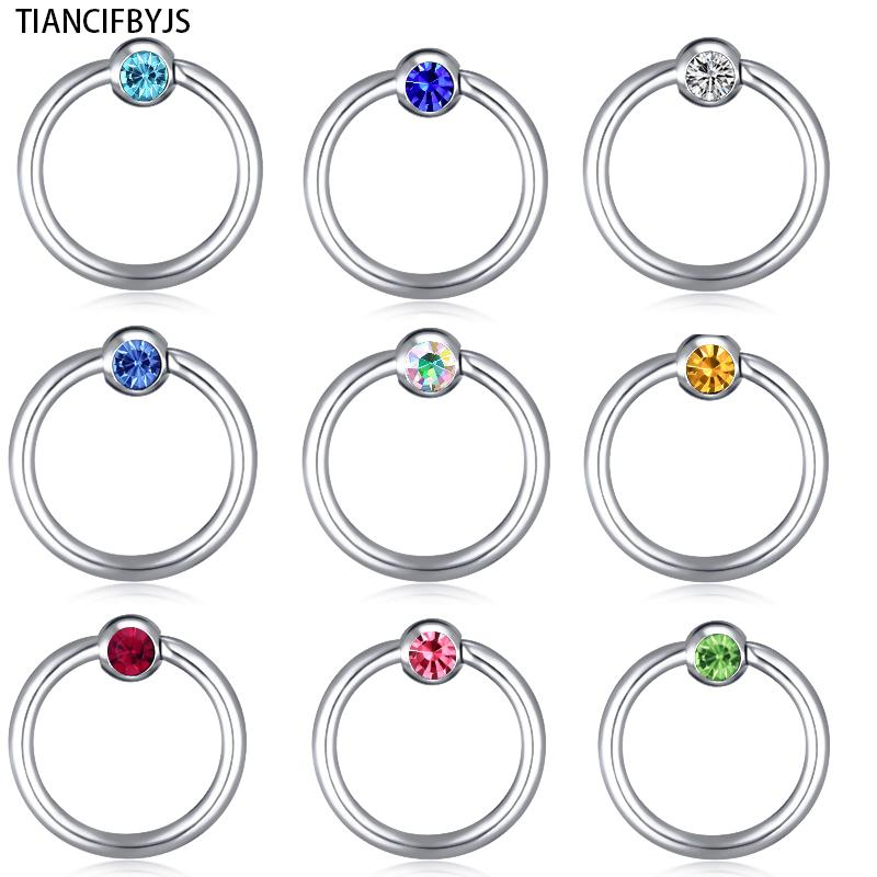 TIANCIFBYJS Piercing Nose Ring Ear Cuff Multi Color Hoop Real Septum Ear Cuff Surgical Body Jewelry Steel Body Piercing Ring
