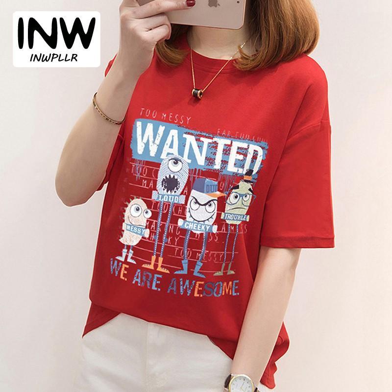 2018 Novas Mulheres T-shirt Engraçado Impresso Tshirt Femme Tops Tees Verão Moda Carta de Manga Curta T-shirt Das Mulheres Poleras Mujer