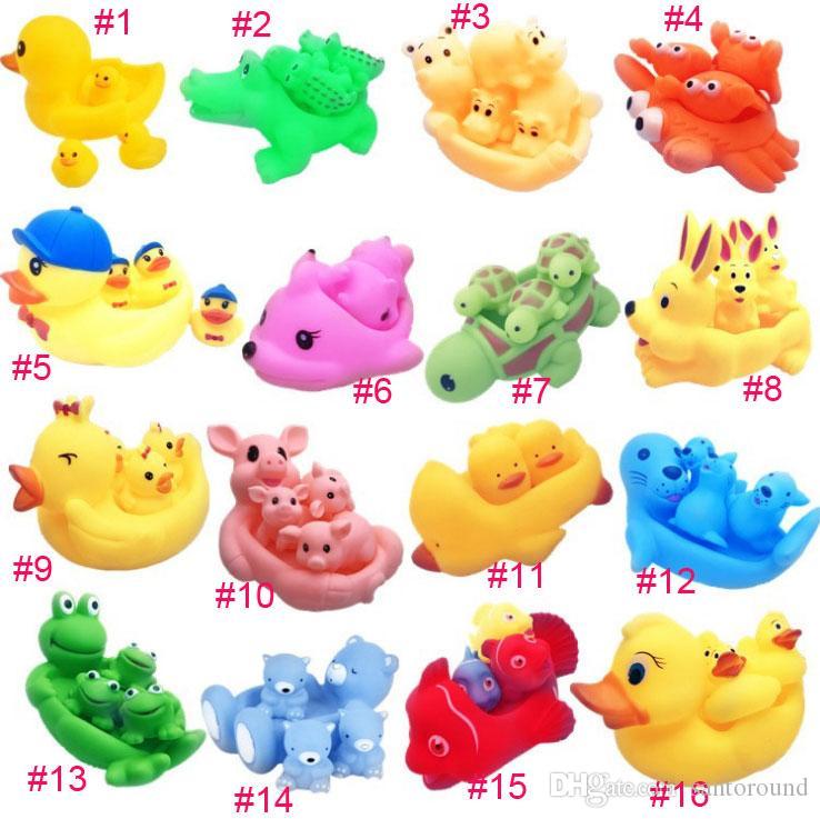 안전 아기 목욕 물 장난감 떠 다니는 노란색 고무 동물 오리 키즈 장난감 귀여운 수영 장난감 샤워 해변 플레이 세트 1
