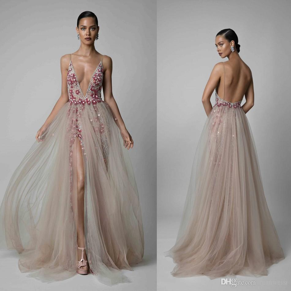 Berta 2019 Beaded Split Prom Dresses Sexy Deep V Neck Backless Sequined Formal Evening Gowns A Line Luxury Pageant Red Carpet Dress