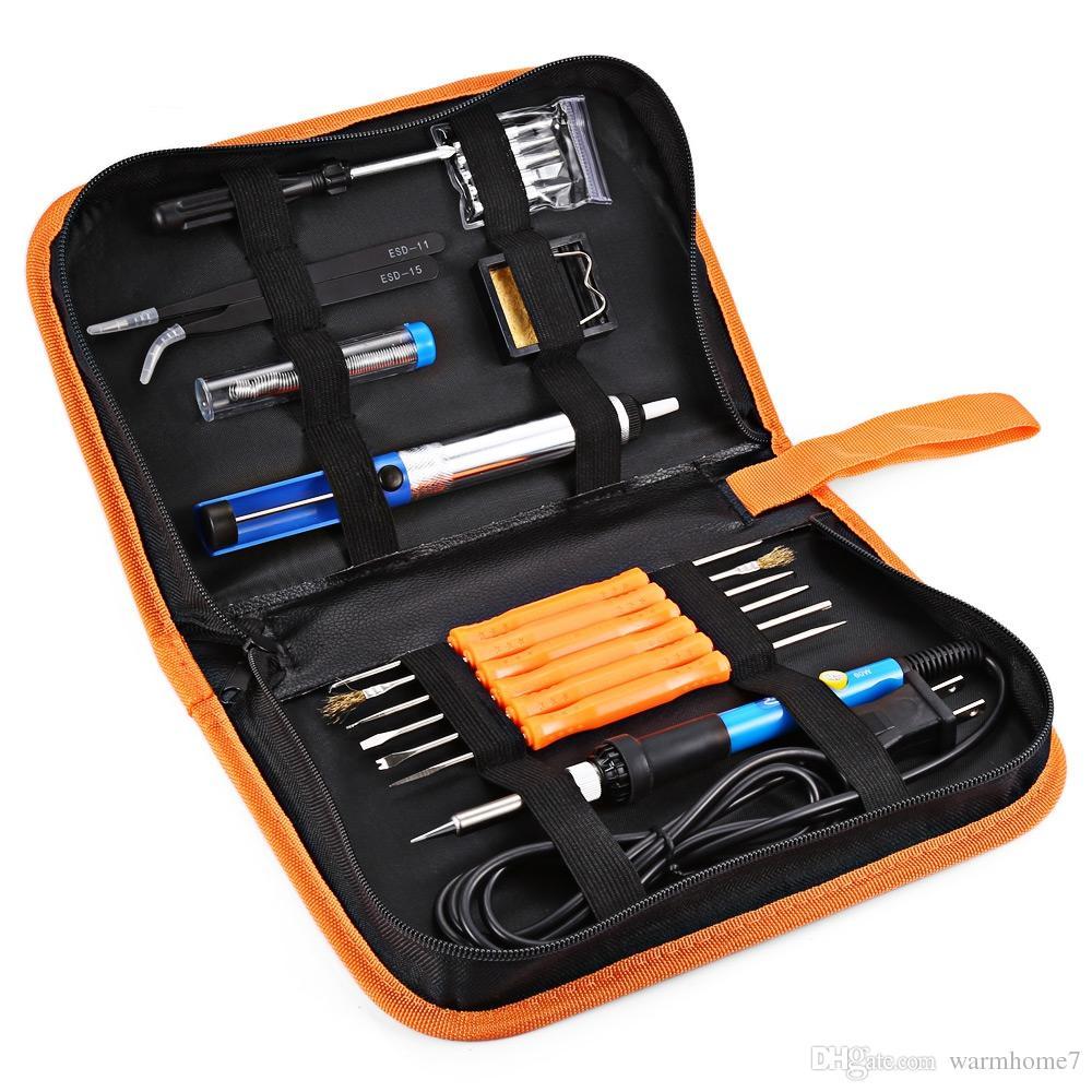 Kit de fer à souder Inlife 60 W 110 V avec contrôle de température Fers à souder électriques Outil de réparation de soudage Kit d'outils de soudage longue durée