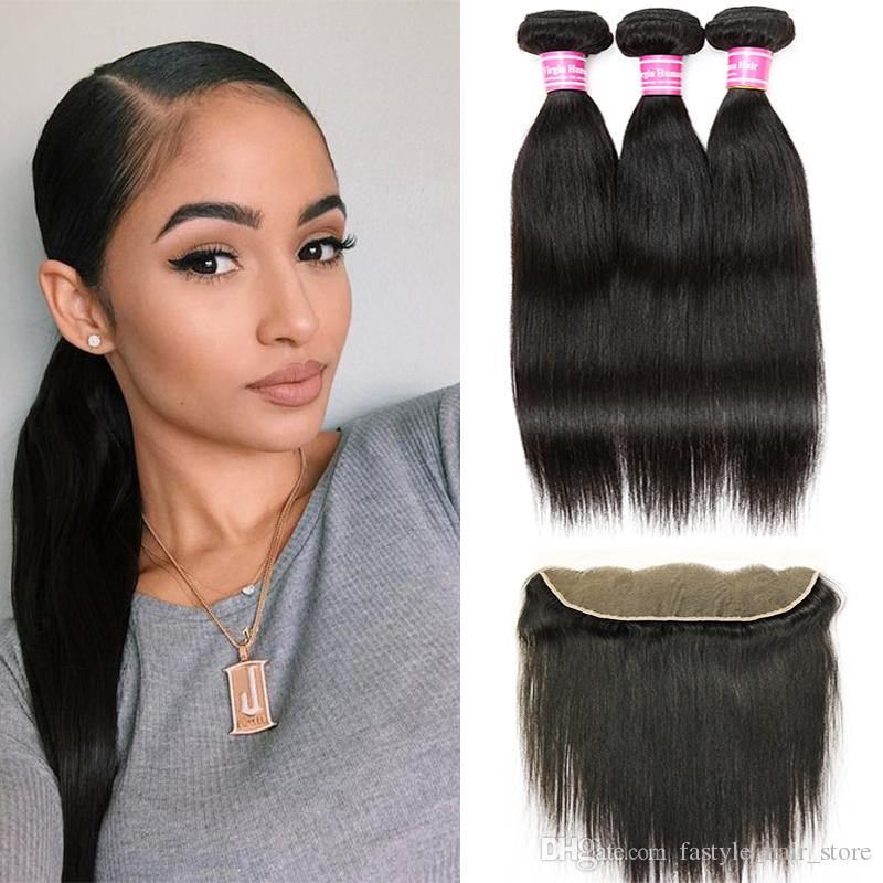 """Virgin Human Hair Brazilian Straight Hair Wefts 3 Bundles with 13""""x4"""" Swiss Lace Frontal Closure Remy Peruvian Indian Hair Weave Extensions"""