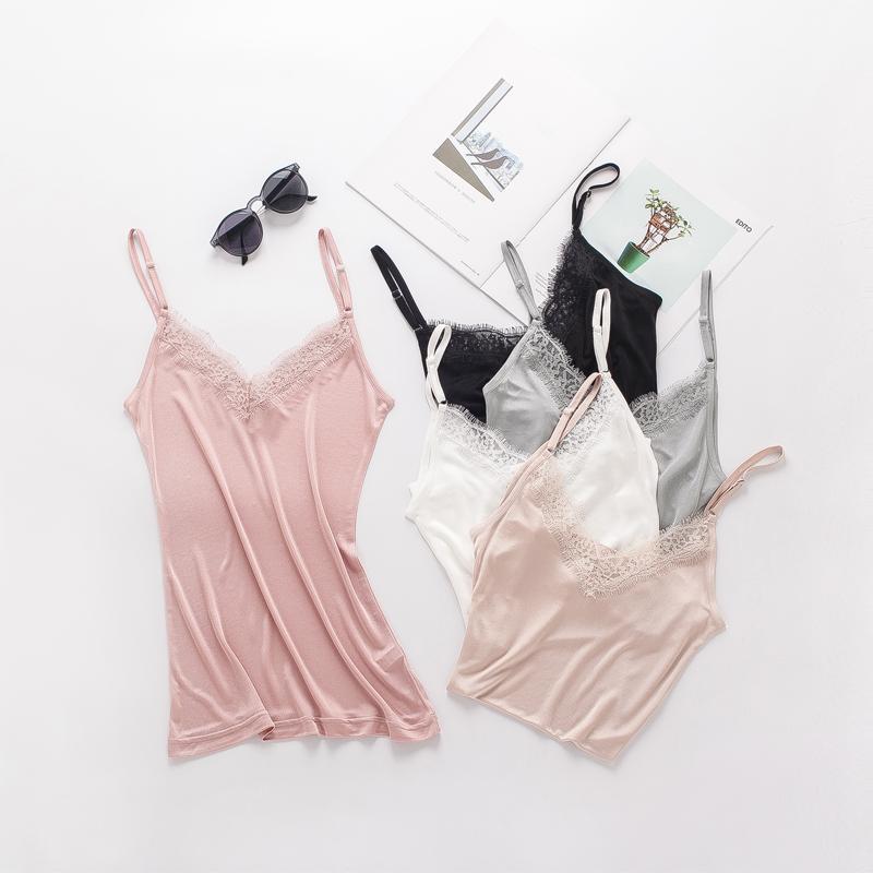 2018 PLUS Size Summer Nature Silk Lash Lace Sleep Tops Women Camisoles Elastic Loose Elegant Sexy Pajamas V-neck Cool Bottoming