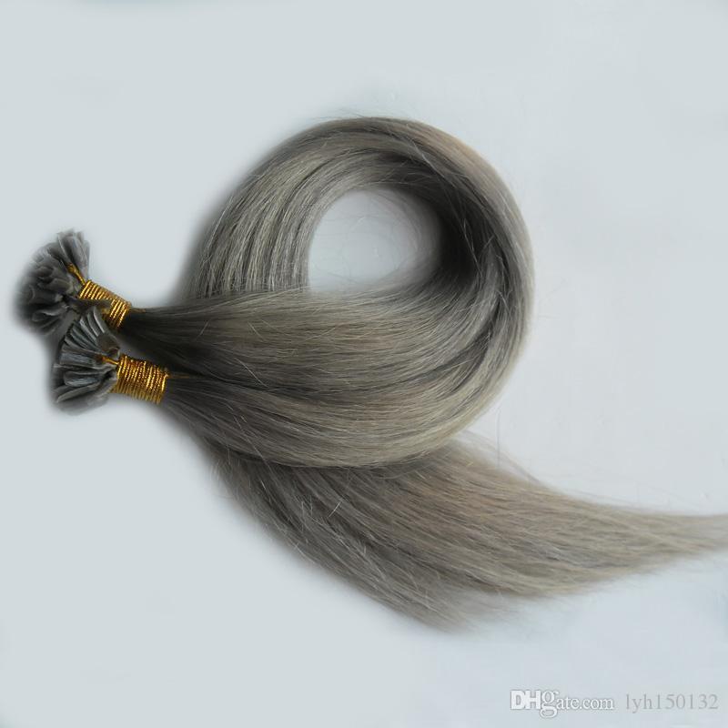 Grau 7a Virgem Não Processado Do Cabelo Humano Top Quality cinza prata U ponta extensão do cabelo queratina aumento da cápsula Brasileira Cabelo Liso 100g