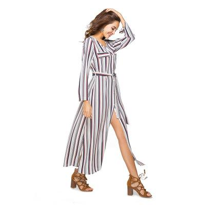 f58accefdb6fd Women Fashion Simple Brief Slim Fit Shirt Dress Belt Long Sleeve Black  White Vertical Stripes Job Split Casual Autumn Spring Party Dresses Juniors  Buy ...