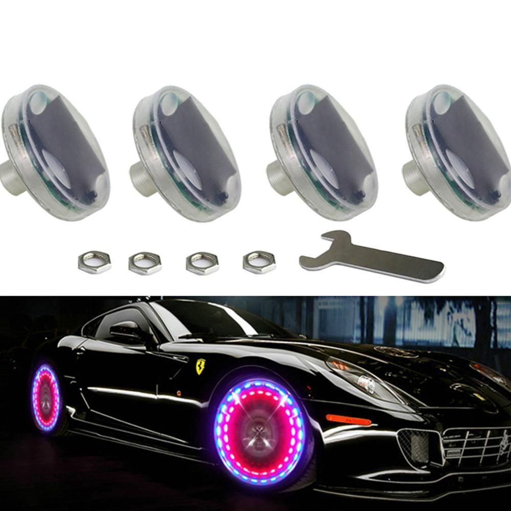 4pcs LED 자동차 튜닝 가스 노즐 캡 라이트 빛 바퀴 밸브 바퀴 줄기 캡 타이어 모션에 대 한 주도 플래시 타이어 밸브 램프 13 Flash Color AG