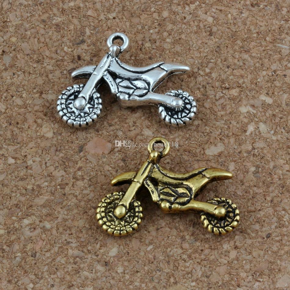 Motorfiets Charms Hangers 100 stks / partij 23x17mm Antiek Zilver / Gouden Mode-sieraden DIY Fit Armbanden Ketting Oorbellen A-281