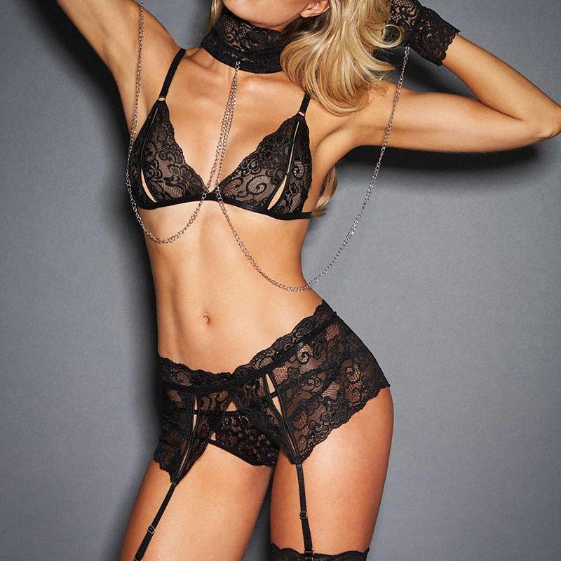 Fantazi Seks Hot Sexy Kobiety Bielizna Zestawy Biustonosz + Garterbelt + Panty + Kajdanki Przezroczyste Koronki Egzotyczne Bielizna Porn Ubrania R80638