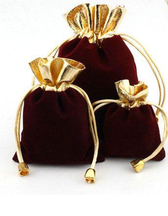 100 pcs lado de Ouro ESCURO VERMELHO Veludo Com Cordão Bolsa Bag / Saco de Jóias De Natal / Sacos de Presente de Casamento