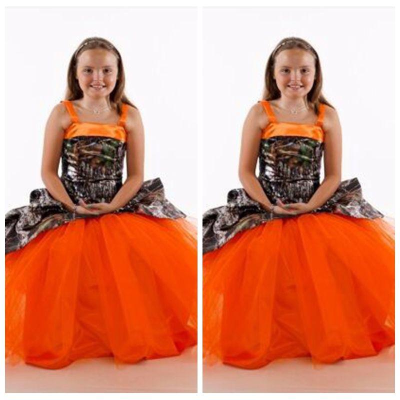 Spaghetti Camo Satin Flower Girls Dresses Tulle Skirt Long Custom Online Kids Formal Party Gowns Girl Wedding Party Wear Cheap
