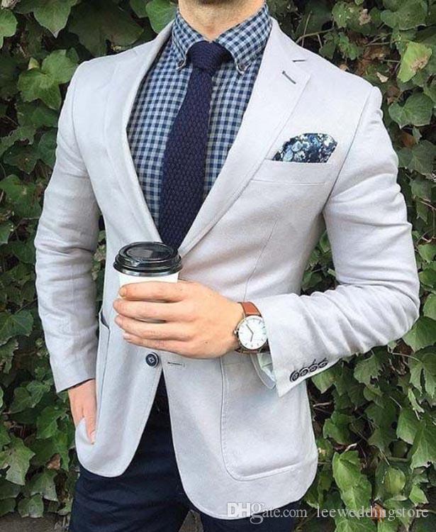 Spring Custom Made Men Suits Light Grey Slim Fit Wedding Suits Groom Best Man Prom 2Pieces Tailor Tuxedo Terno Blazer Masculino Jacket+Pants
