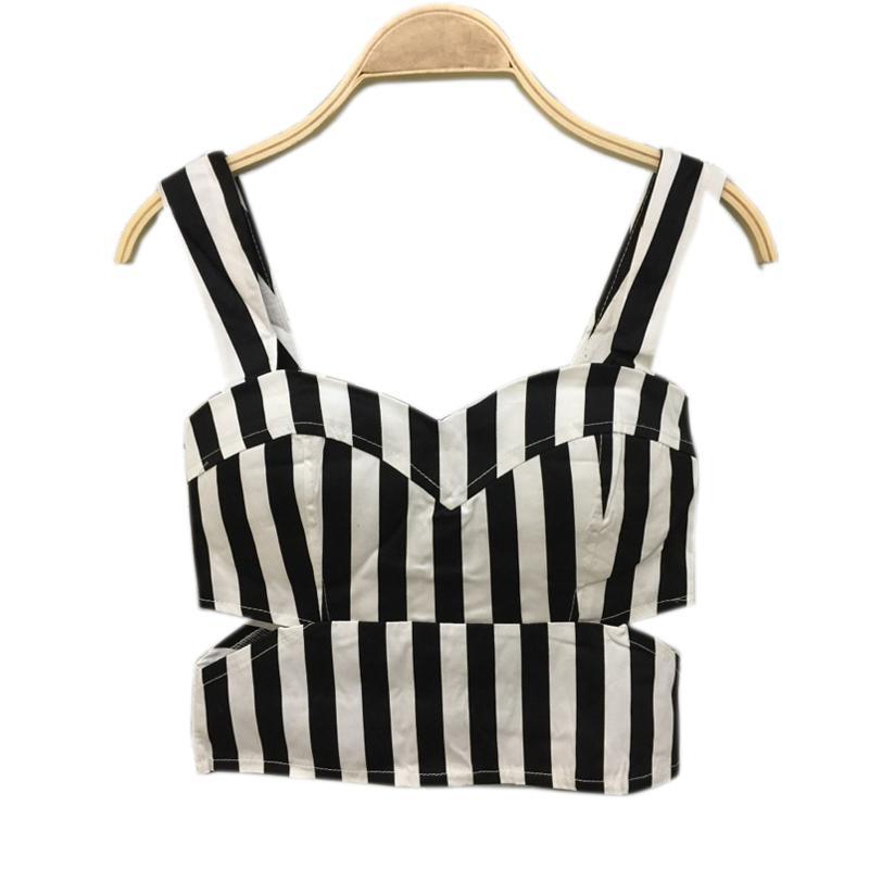 Summer Striped Crop Top Vita cava Sexy Corta Donna Top Vest Feminino Halter Top Canotta femminile Cropped Bustier Ladies