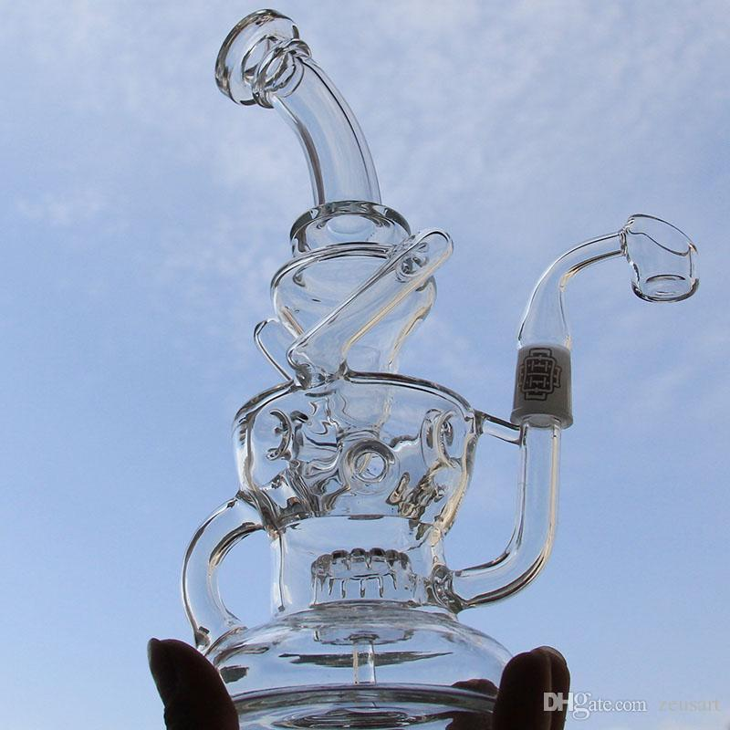 bong 10 inches New double recycler Water Pipe hot sell free shipping two function 14.4mm joint