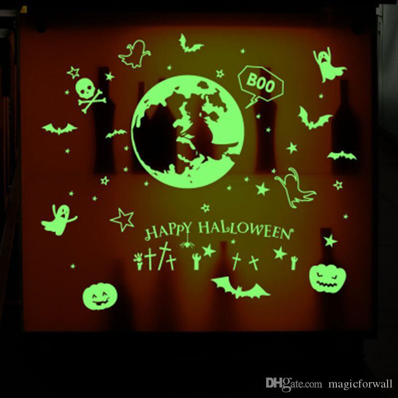 Glow in the dark Wall Stickers Luminous Bat Star Pumpkin Lantern Ghost Window Glass Kids Room Decor Wall Mural Poster Art