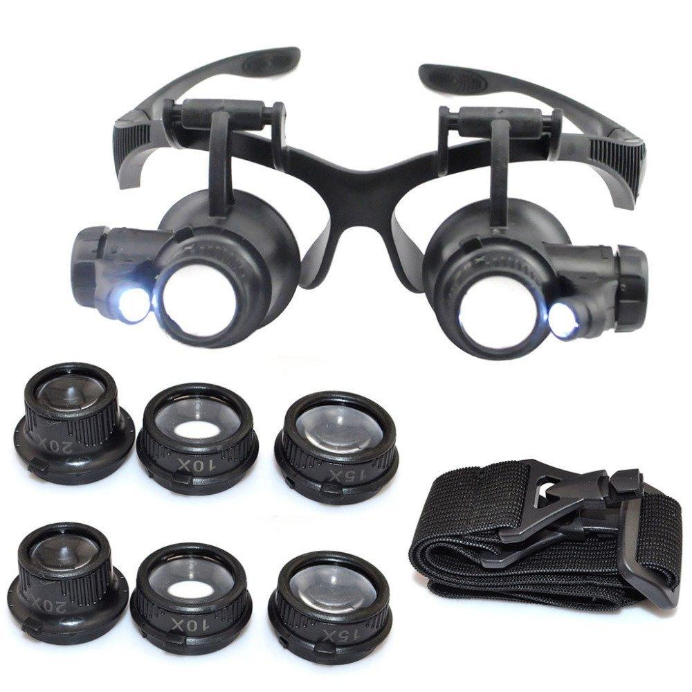 20X strumento per riparare orologi 15X 25X Occhiali con lente di ingrandimento 10X lente di ingrandimento regolabile a LED