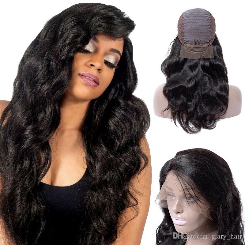2018 лучшие продажи кружева фронт парик тела волна человеческих девственников волосы природа черный для красивых женщин бразильские кружевные парики