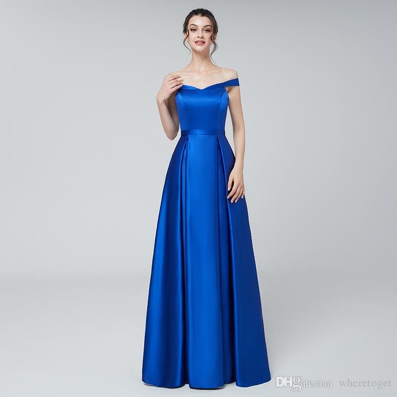 Compre Vestidos Formales De Noche Elegantes De Talla Grande Baratos 2019 Longitud Del Piso Azul Real Fuera Del Hombro Con Cuello En V Vestidos Largos