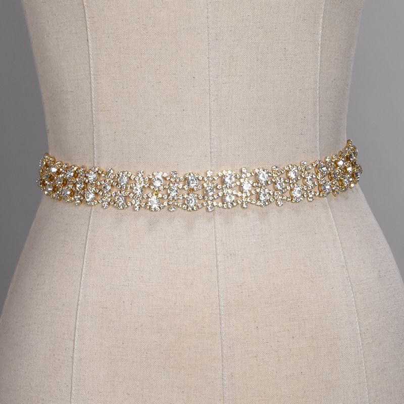 Cinture da sposa in cristallo fatte a mano Argento dorato con strass Abito da sposa Cintura Abiti da sposa formali Cintura da cintura con cintura nuziale CPA1393