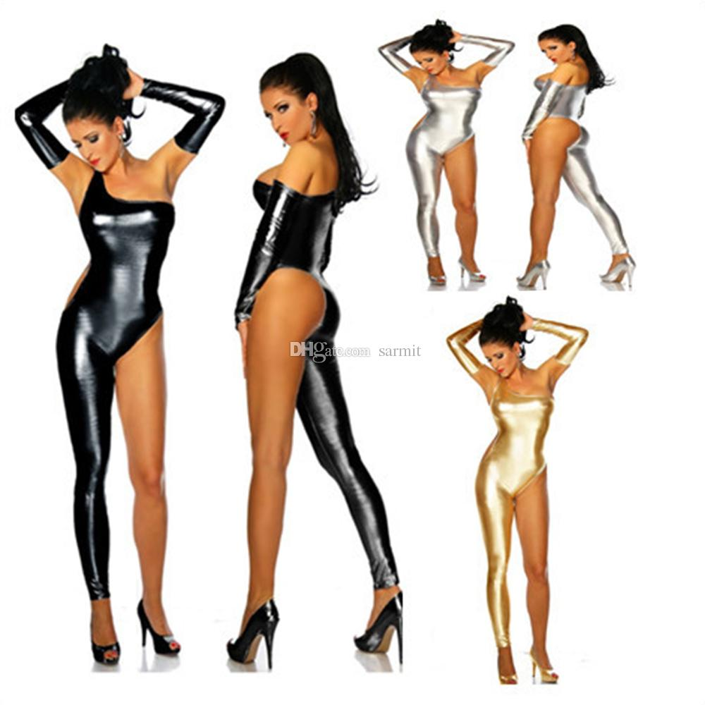 Sexy Patent Leather Bodysuit Body Catsuit Leather Bodysuit Sexy F0629 Lingerie with Gloves Black Silver Gold Colors