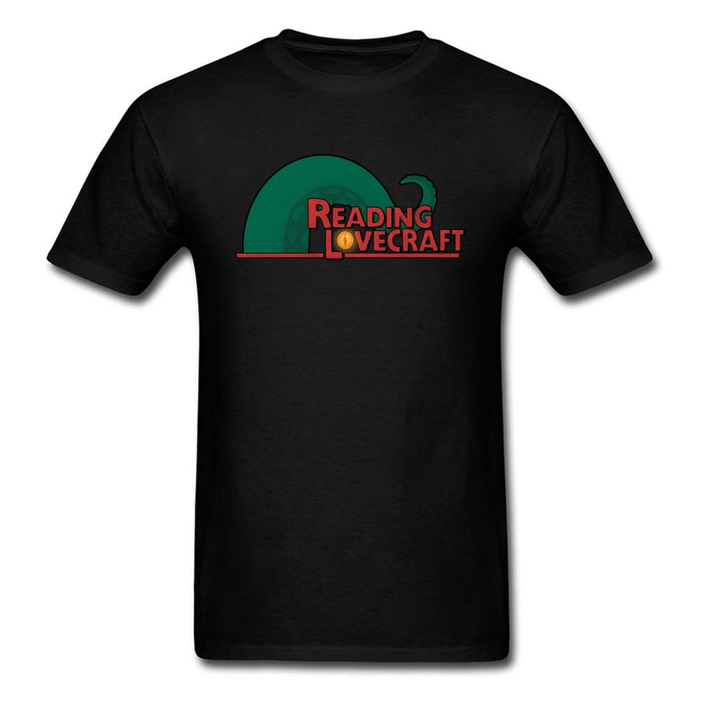 Reading Lovecraft T Shirt Men Cthulhu T Shirt Mystery Black Clothing Summer Cotton Tops Cool Hip Hop Tshirt Octopus Tees