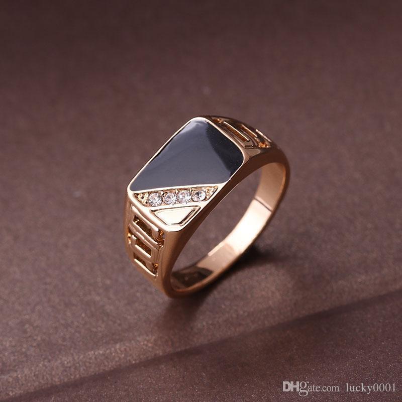 Moda maschile gioielli classico oro colore strass anello nuziale anelli smalto nero per gli uomini regalo di Natale festa