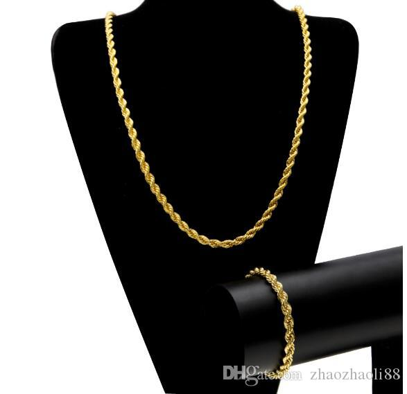 Men Hip Hop 6.5mm Hemp Chain HIPHOP ROPE CHAIN 14K Gold Silver Plated Bracelet Necklace Set