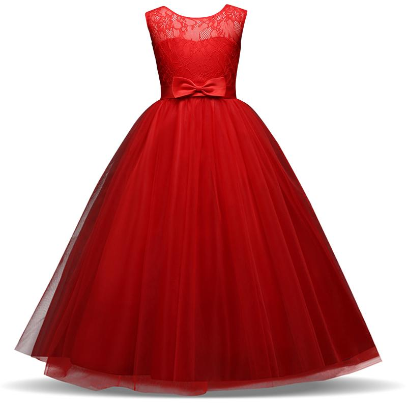 2019 Red Girls Christmas Costume Children Flower Girl Dress For Wedding 6 8  10 12 14 Years Teen Girls Long Evening Party Prom Dresses From Sto6,