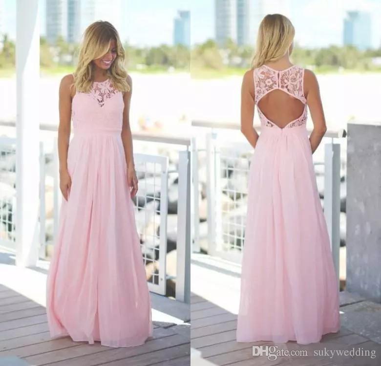 Pink Country Style Druhna Suknie Koronki Szyfonowa Klejnot Neck A-Line Druhna Dresses Open Back Women Wedding Party Suknie Custom