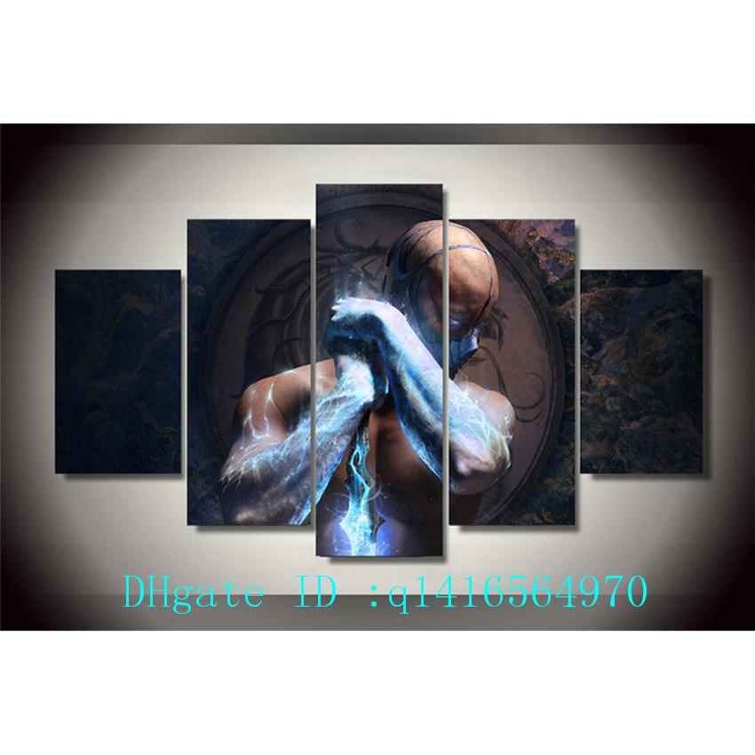Mortal Kombat Sub Zero,5 Pieces Canvas Prints Wall Art Oil Painting Home Decor /(Unframed/Framed)