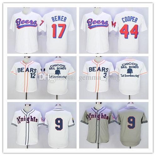 أفضل The BASEketball Beers Movie Jerseys Baseball 17 Doug Remer 44 Joe COOP Cooper BASEketball White Button Shirts Grey 9 Roy Hobbs Jersey