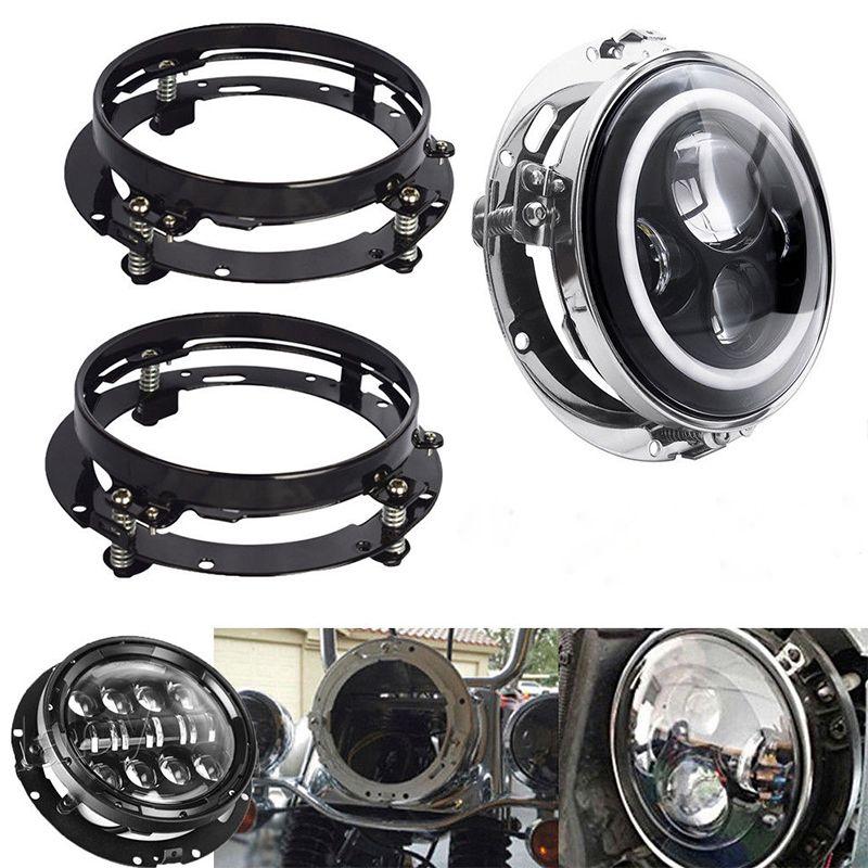 Soporte de montaje de 2 piezas para 7 pulgadas LED faro anillo redondo Jeep Wrangler