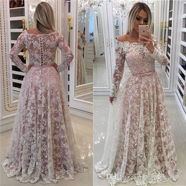 Белое кружево розовый подкладка платья выпускного вечера с длинными рукавами ленты лук створки Сексуальная с плеча развертки поезд вечернее платье формальный повод носить