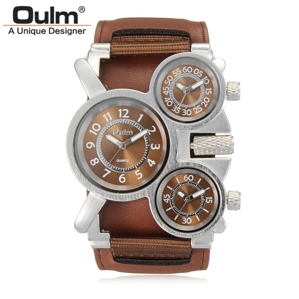 Fashion Oulm Brand Cool Leather & Canvas Strap Men High Quality Military Army 3 Time Zone Sport Outdoor Wrist Quartz Men Watches